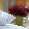 Picture of a comfortable pillow on a double bed at Hotel Sellhorn with a heather plant